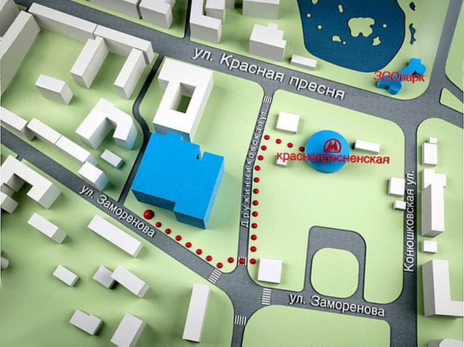 Расположение Киноцентра на Красной Пресне и проход от станции метро